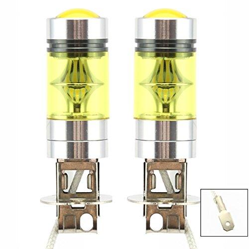 2x H3 LED Fog Light Bulb 2323 SMD Gold Yellow LED Bulbs100W High Power Projector Fog Driving DRL Light (Projector Fog Lamps)