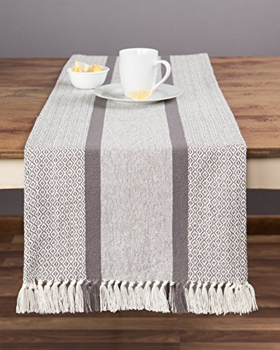 Sticky Toffee Cotton Woven Table Runner with Fringe, Traditional Diamond, Gray, 14 in x 72 in - FITS TABLES FOR 4 to 8 PEOPLE: 14 in x 72 in size fits round, square or rectangular tables that seat 4 to 8 people. COORDINATING PLACEMATS: Pair with our matching placemats to create the foundation for a welcoming dining experience. 100% COTTON: This durable table runner is made of cotton, woven together in a diamond pattern with a subtle fringe on each end. - table-runners, kitchen-dining-room-table-linens, kitchen-dining-room - 51sPHuHL3zL -