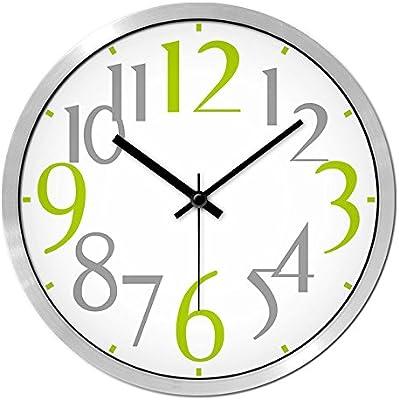 Simple redondo moderno pared Clcok silencio sin tic tac reloj de colgar en la pared para dormitorio sala de estudio de la habitación, verde Digital reloj de ...