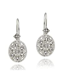 Sterling Silver Diamond Accent Filigree Oval Leverback Earrings