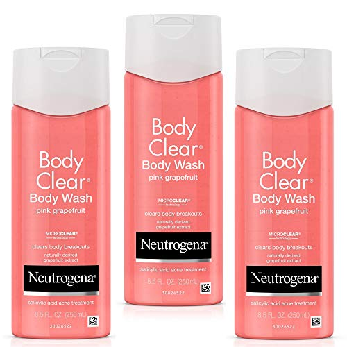 Facial Fighting Wash - Neutrogena Body Clear Acne Treatment Body Wash with Salicylic Acid Acne Medicine to Prevent Body Breakouts, Pink Grapefruit Salicylic Acid Acne Body Wash for Back Chest & Shoulders, 8.5 fl.oz (3 Pack)