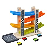 Educational Toys,MeiLiio Children Wooden Toys Four Story Gliding Car Slide Car Fun Ladder Track Car Novelty Toddlers Toy for Children Toddler Kids Girls Boys