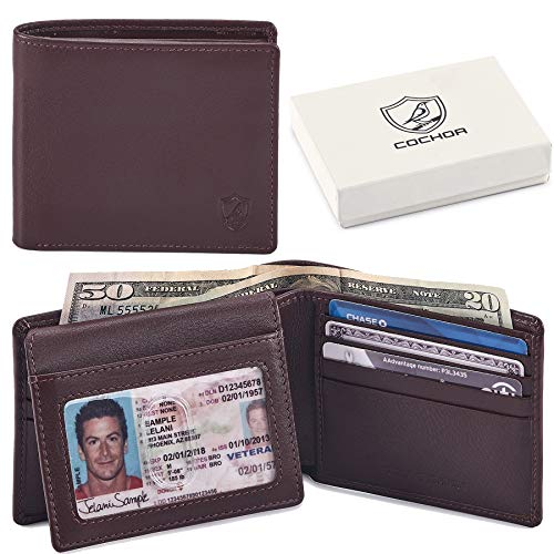 COCHOA Men's RFID Blocking Bifold Wallet With 2 ID Window 3.25