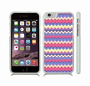 iStar Cases? iPhone 6 Plus Case with Colorful Wavy Stripes, Blues, Yellows and Pinks , Snap-on Cover, Hard Carrying Case (White)