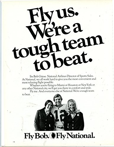 """Vintage Magazine for National Airlines Ad featuring """"Bob Griese"""""""