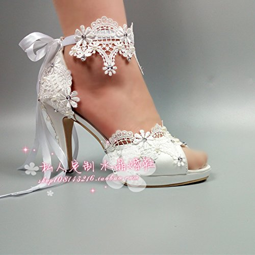 Pearl VIVIOO Prom New Sandals High 5 Super Satin Crystal Bride With 7 Bridesmaids Lace Shoes Joker Wedding Photography Wedding Shoes Bracelet ff4Zrwq