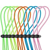 10 Sets Bungee Cord Strap Kit for Swim Goggles, Adjustable Replacement Swimming Goggle Strap with Cord Lock Clamp for Swimming Supplies (Green, Blue, Pink, Yellow, Orange)
