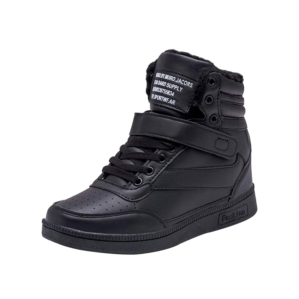 Ladies Wedge Trainers High Top Velcro Ankle Boots Sneakers Breathable Casual Heel Sport Shoes Lace-up Shoes Running Shoes White Green Black Rose Red 35-40