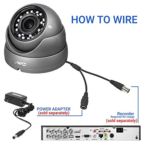 R-Tech RVD70B 1000TVL Outdoor Dome Security Camera with 24 High-Intensity IR LEDs for Night Vision and 2.8-12mm Varifocal Lens and New Style SMD LED
