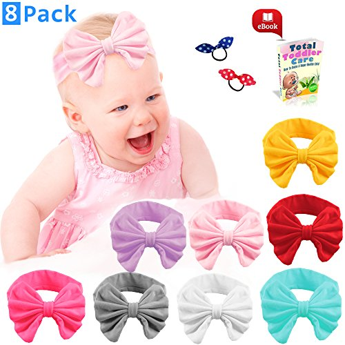 Premium Multi color Baby Girl Headbands Set - Available in Pack of 8 Hairbands for Gift - High Quality Elastic Bow Style for Newborn - 100% Satisfaction Bundled with Bonus Ebook and Two Hair (Cheap Minnie Mouse Ears)