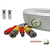 White, 100ft Wennow All-in-one Pre-made BNC Video and Power Extension BNC Male to Male Cable with 2 Free BNC Coupler Connectors for CCTV Surveillance Camera (White, 100ft)