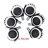 """Eagles 6pcs Universal casters 2"""" Office Chair Caster Wheels with 10mm x 22mm Stems(Black/White)"""