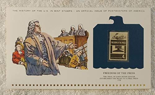 Freedom of the Press - The Trial of John Peter Zenger Establishes the Right to a Free Press - Postage Stamp (1958) & Art Panel - History of the United States: an official issue of Postmasters of America - Limited Edition, 1979