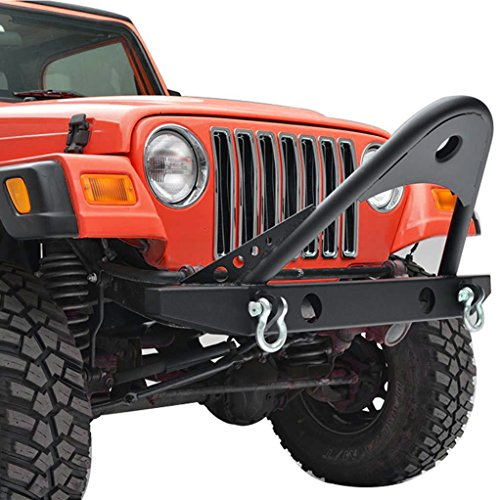 X-restyling Black Textured YJ TJ Jeep Wrangler Front Bumper with Stinger