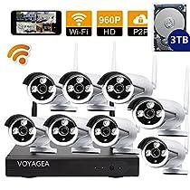 VOYAGEA 8CH 960P NVR wireless monitoring security system NVR Night Vision IP Surveillance Camera Kit waterproof camera 3TB hard disk Wireless Home Surveillance Security Camera A19