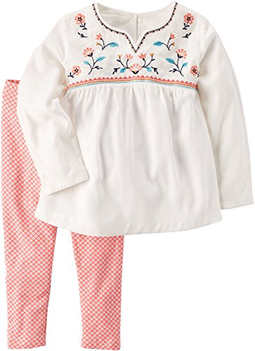Carter's Baby Girls' 2 Piece Embroidered Babydoll Top and Leggings Set 9 Months