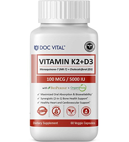 Premium Vitamin K2 (MK7) + D3 with BIOPERINE & ORGANIFLOW for Optimal Absorption | Vitamins D & K for Bone and Heart Health Supplement - 5000 IU D3 & 100 mcg K2 MK-7 - 60 Veggie Caps