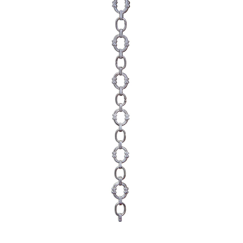 RCH Hardware CH-05-PN-3 Decorative Polished Nickel Solid Brass Chain for Hanging, Lighting - Large Round Unwelded Links with X Design (3 ft/1 Yard)