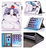iPad Air 2/iPad Air/iPad 9.7 inch 2017 Case, PU Leather Folio [Anti-Slip] Cover with [Magnetic Closure] [Cards Slots] Auto Sleep/Wake for Apple iPad 9.7 2017/iPad Air 1&2 (iPad 5&6), Sketch Cat