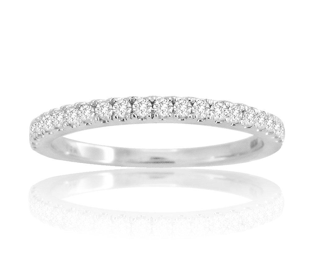 14k Solid White Gold 0.25ct Diamond Half Eternity Wedding Band Anniversary Ring (white)