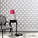2x2 Set of 180 Polka Dot Circles vinyl lettering decal home decor wall art saying (White)
