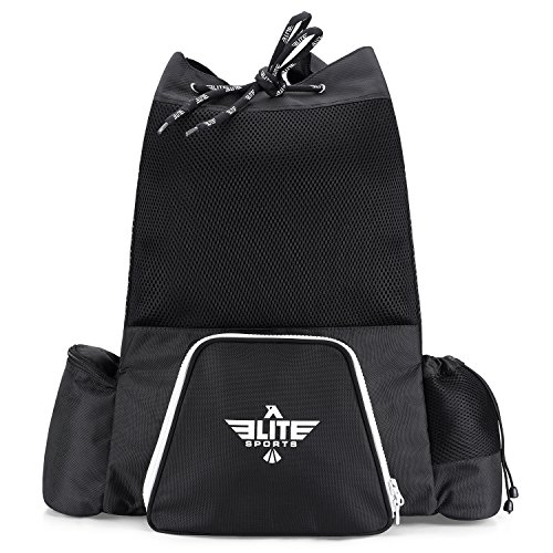 Elite Sports New Item Black Mesh MMA, BJJ, Gear Gym Drawstring Backpack (Medium)