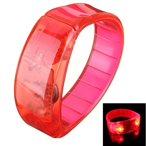 Voice Control LED Light Glows Wristbands Bracelet Bangle Party Concert (Red) (Halloween Mask Finger In Mouth)