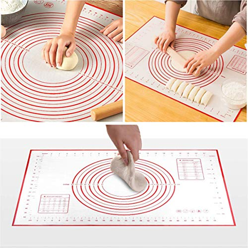 Covotna Rolling Pin and Silicone Pastry Baking Mat Set with Measurements Non-slip for Baking Cookie Fondant Pastry Pizza Pie Dough 16 x 24 Inches (Red)