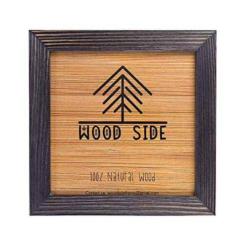 Rustic Wooden Square Picture Frame 12x12-100% Natural Solid Eco Distressed Wood for Wall Mounting Photo Frame - Dark Grey (Vintage Photo Sale For Frames)