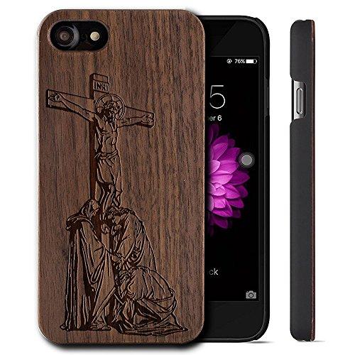 Funda Madera Tallada Protectora Cubierta para iPhone 7 Plus Natural Wood Caja de PC Vintage Bumper Protector Carcasa para Apple iPhone 7 Plus(5.5 inch) Walnut-Jesus crosses