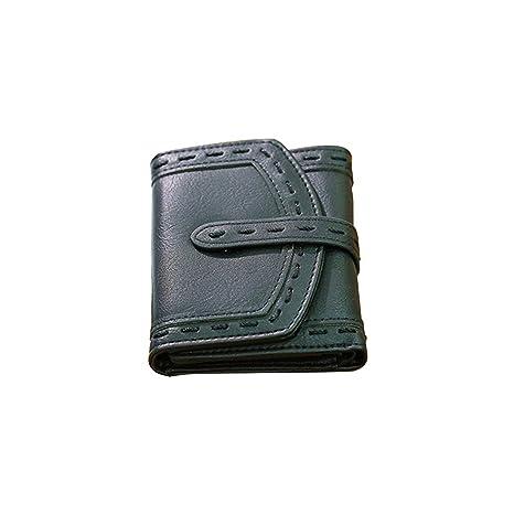 Klerokoh Monedero de Cuero auténtico doblado Mini Cartera Perfecto para Regalos (Color : Black)