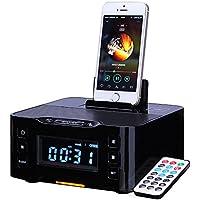 PowerLead NFC Bluetooth Docking Speaker Supported Radio Alarm Clock for Apple/Samsung/LG Phones & Tablets---Black