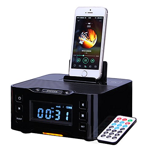 PowerLead NFC Bluetooth Docking Speaker Supported Radio Alarm Clock for Apple/Samsung/LG Phones & Tablets---Black