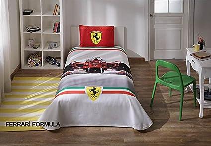 Copripiumino Ferrari.100 Cotone Pique Ferrari F1 Formula Race Set Copripiumino Singolo