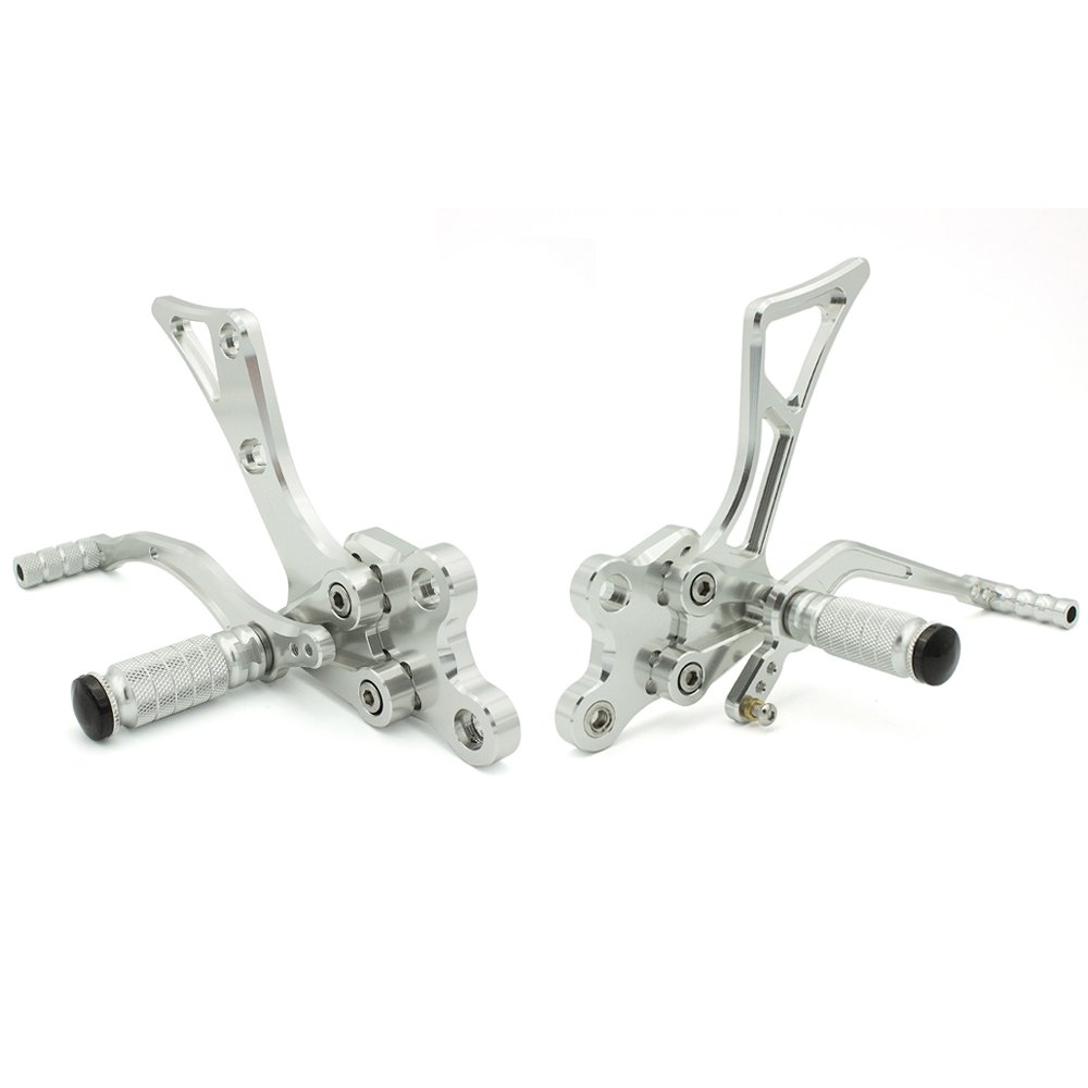 FXCNC Racing CNC Billet Motorcycle Adjustable Rearsets Foot Pegs Rear Set Fit For Yamaha FZ1 FZ8 2001 2002 2003 2004 2005 Gray