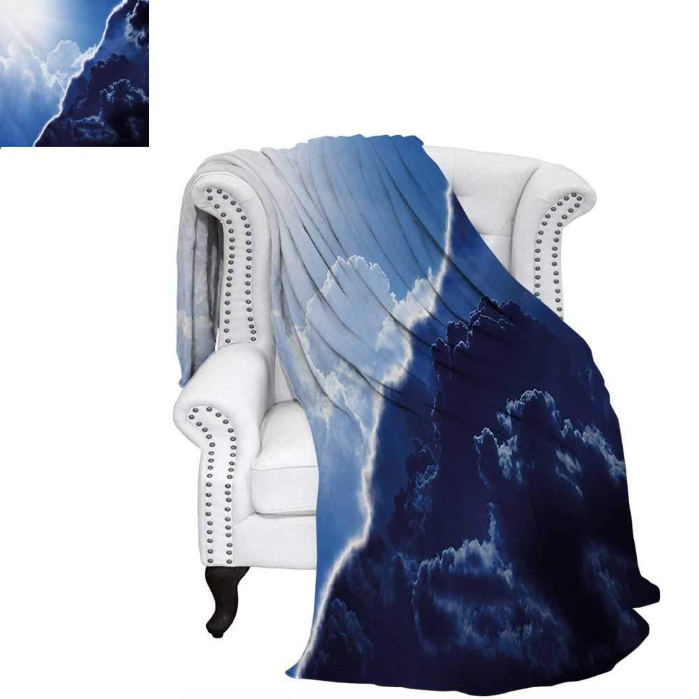 warmfamily ネイチャー オーバーサイズ トラベル スロー カバー ブランケット コントラスト カラー テーマ 多様なトーンのスカイライン 天気 自然 アート スーパーソフト 軽量 ブランケット ネイビーブルー 60