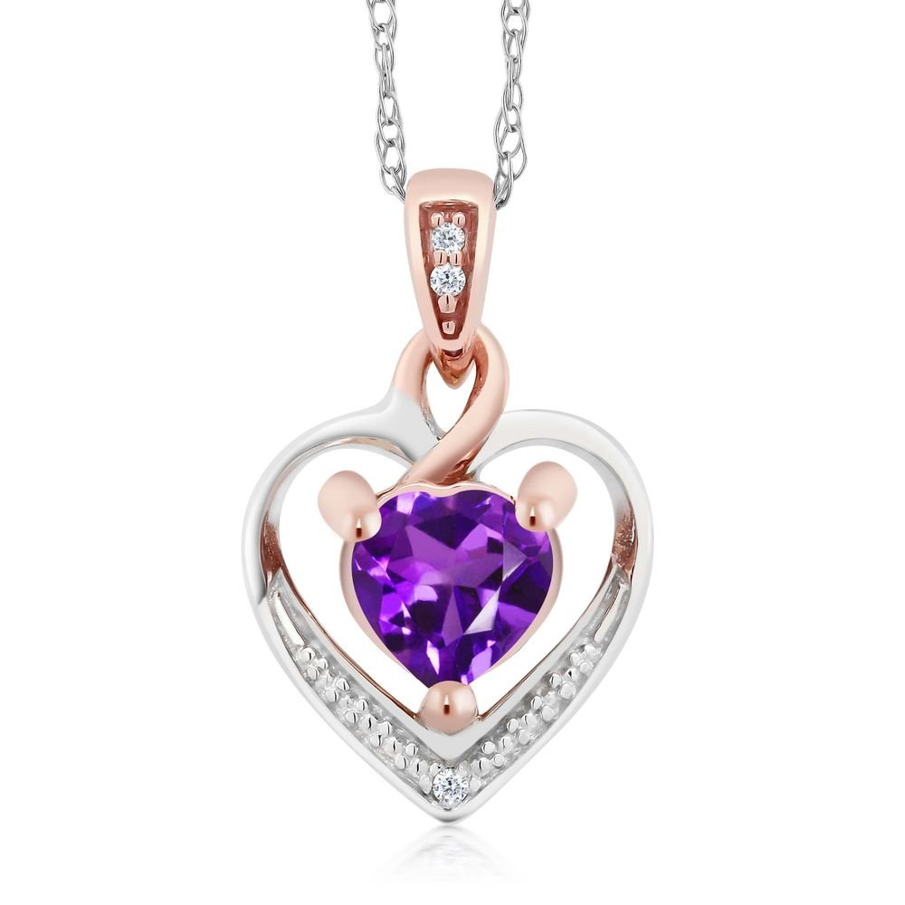 10K White and Rose Gold 5mm Amethyst and Diamond Heart Shape Pendant Necklace (0.40 cttw, With 18 inch Chain)