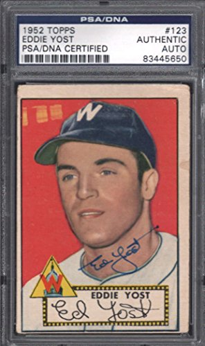 1952 Topps #123 Eddie Yost Autograph PSA DNA Authentic 19909