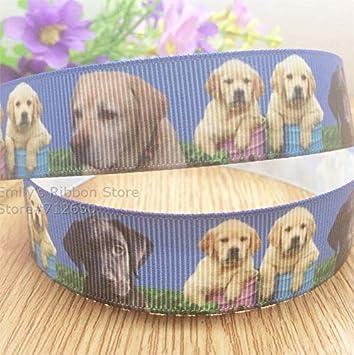 "Grosgrain Labrador Dog Printed Ribbon 22mm 7//8/"""