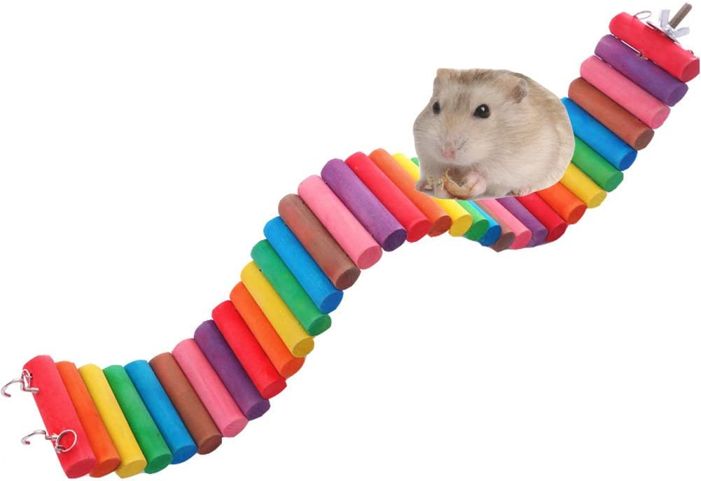 Fashionclubs Pet Hamster Colorful Wooden Flexible Suspension Ladder Bridge Playing Toys