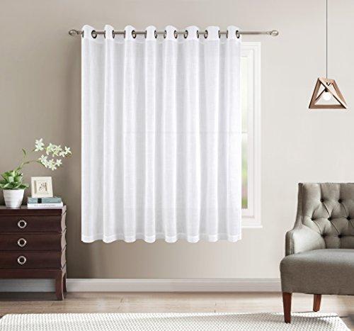 Better Home USA Wide Width Linen Textured Sheer Curtain - Antique Bronze Grommet Top - White - 100