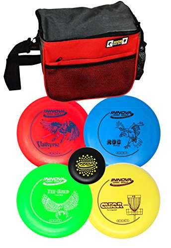 Innova Disc Golf Set with 4 Discs Starter Disc Golf Bag - DX Distance Driver, Fairway Driver, Mid-Range, Putter and Mini Marker ()