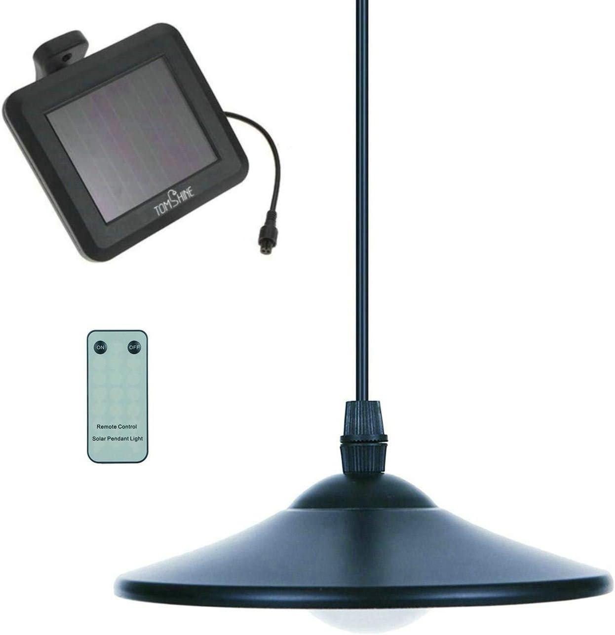 Solar Powered Pendant Light Hanging Lamp Waterproof Yard Garden+Remote