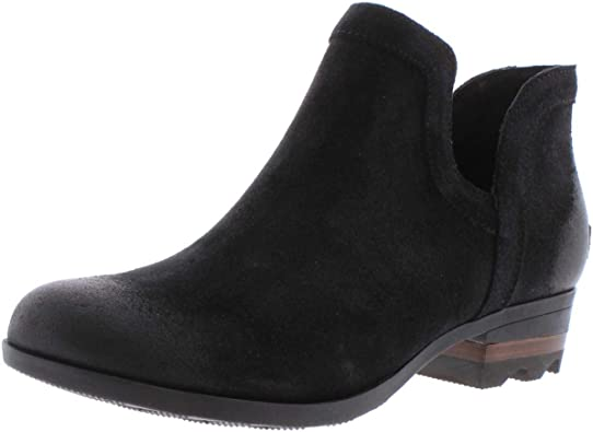 Suede Ankle Boot with Stacked Heel