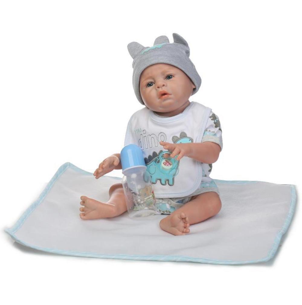 GHCX Silikon-Simulation Reborn Puppe Niedlichen Baby Kann Das Wasser Begleitenden Spielzeug Kinder Kreative Geburtstagsgeschenk 48CM,Boy Boy