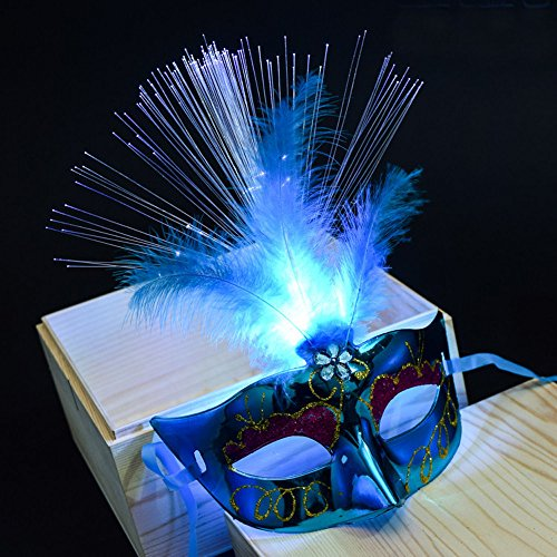 (AMOFINY Fashion Baby Toys New Women Venetian LEDFiber Mask Masquerade Fancy Dress Party Princess Feather)