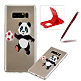 Soft TPU Case for Samsung Galaxy Note 8,Shock-Absorbing Rubber Case for Samsung Galaxy Note 8,Herzzer Stylish Slim Fit Football Panda Pattern Shockproof Scratch Resist Flexible Silicone Back Cover