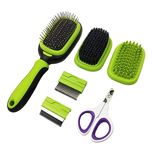 PetHaven Dog Brush & Cat Brush 6 in 1 Pet Grooming Kit Shedding De-matting Slicker Comb For Undercoat Long Short Haired…