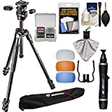 Manfrotto 290 Xtra 67.5'' Professional Tripod with 3-Way Head & Case Kit with Flash Diffusers & DSLR Cleaning Kit