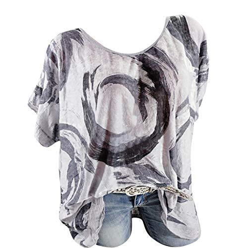 NCCIYAZ Womens T-Shirt Tops Ethnic Graffiti Printed Plus Size O-Neck Short Sleeve Ladies Oversized Blouse(S(6),Gray-1) (Real Metal Iron Man Suit For Sale)
